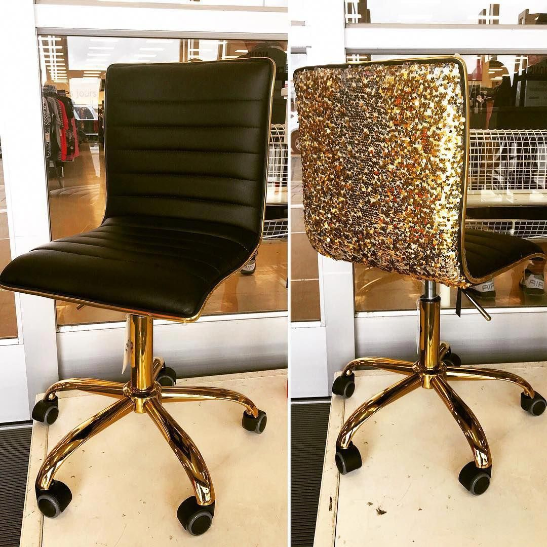 Add A Dash Of Glam To Your Home Office With This Gorgeous Black Gold Sequin Chair 99 99 Ho Office Furniture Modern Gold Office Chair Black Office Chair