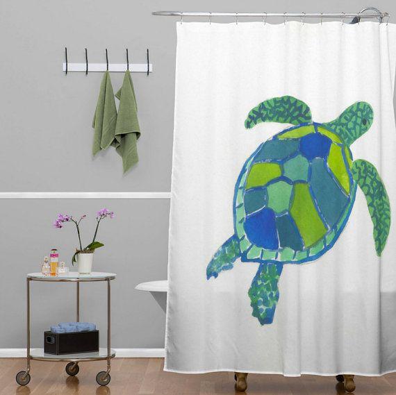 Sea Turtle Shower Curtain Tropical Bathroom Home Decor