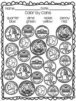 Identifying Coins and Values Coloring Worksheets School
