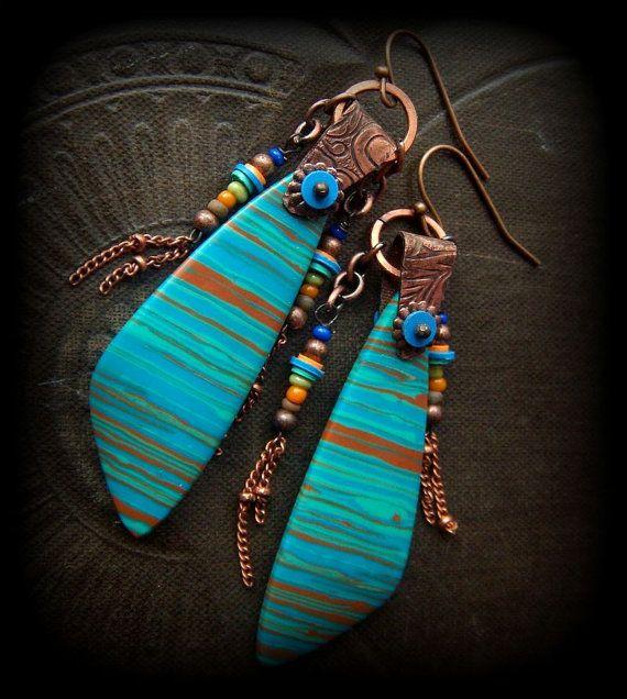 Rainbow Jasper Copper Fringe Hoop Beaded Earrings