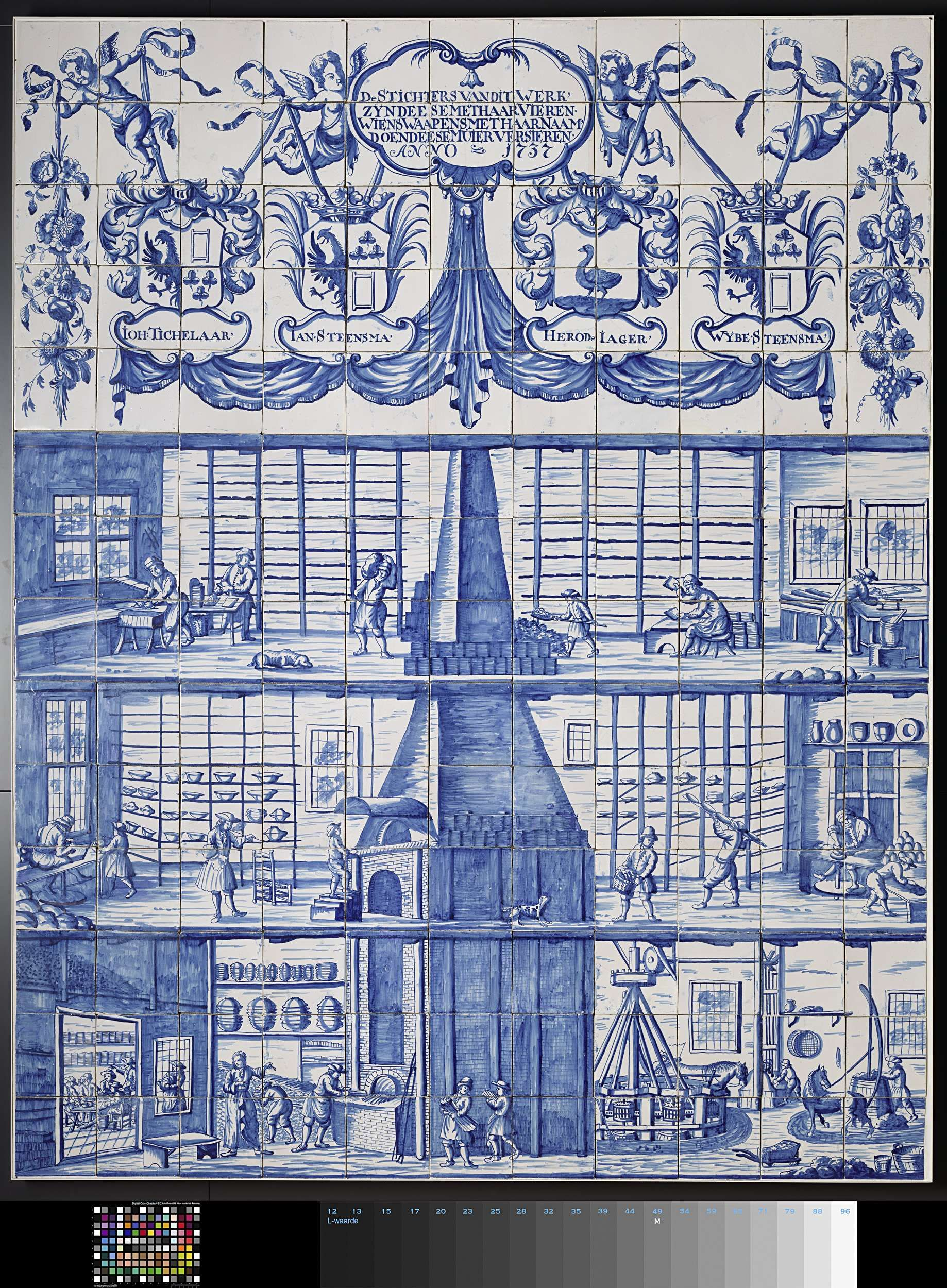 Anonymous | Tile panel with the tile and pottery factory in Bolsward ...