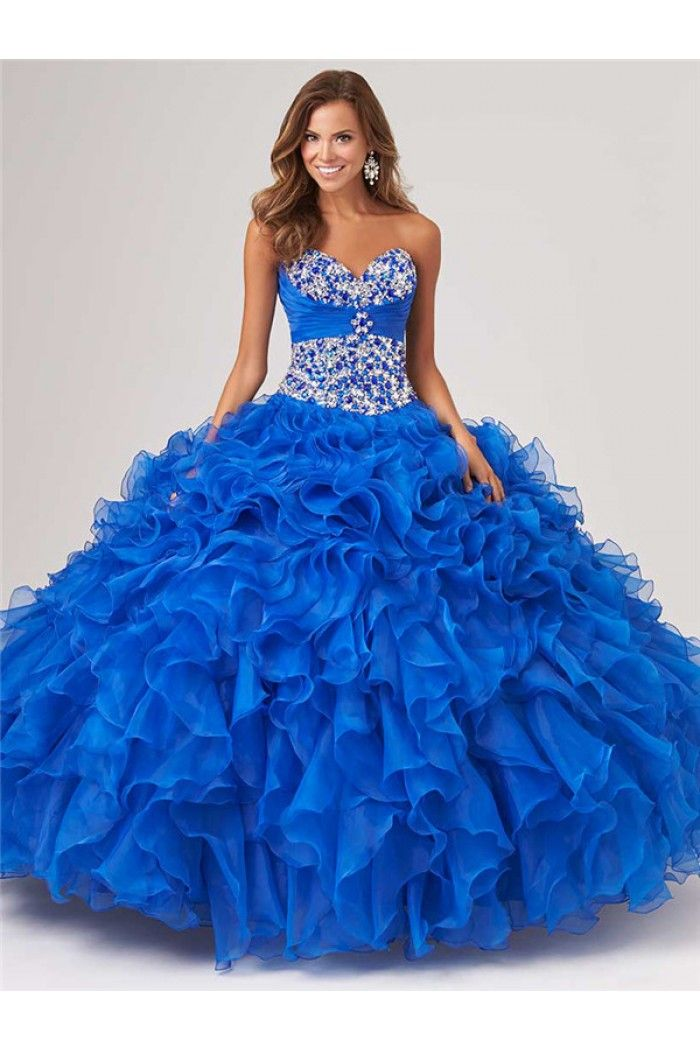 Blue Prom Dresses with Ruffles