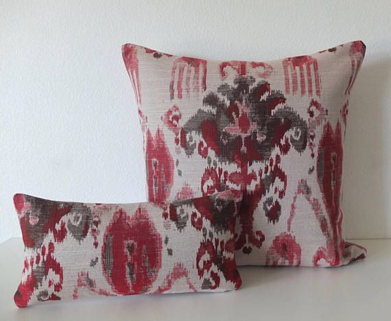 Tonos rojos Ikat almohada cubierta