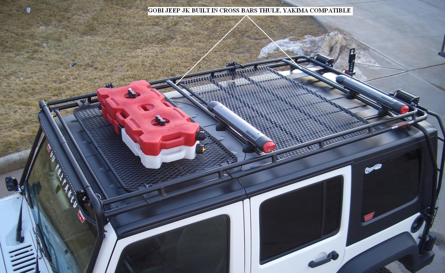 hight resolution of jeep wrangler round led lights gobi rack gobi jeep jk built in cross bars yakima thule compatible with attached