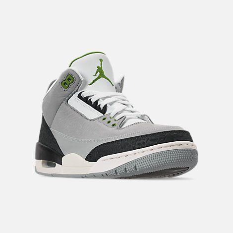 7d9609c278163c Three Quarter view of Men s Air Jordan Retro 3 Basketball Shoes in Light  Smoke Grey Chlorophyll Black