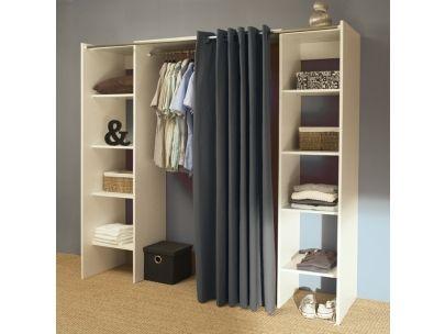 Kleiderschrank Kleiderschranksystem Emeric 2 Seitenschränke à 4 Ablagen Feste Verstellbare 1 Kleiderstange Vorhang
