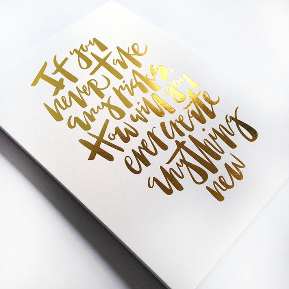NEW GOLD FOIL PRINTS! www.hibridblog.com #goldfoil #handlettering #typography