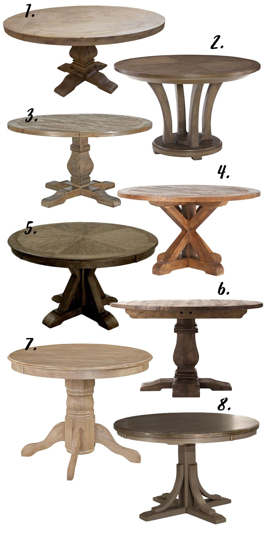 FARMHOUSE DECOR THE RUSTIC ROUND DINING TABLE 8 OPTIONS