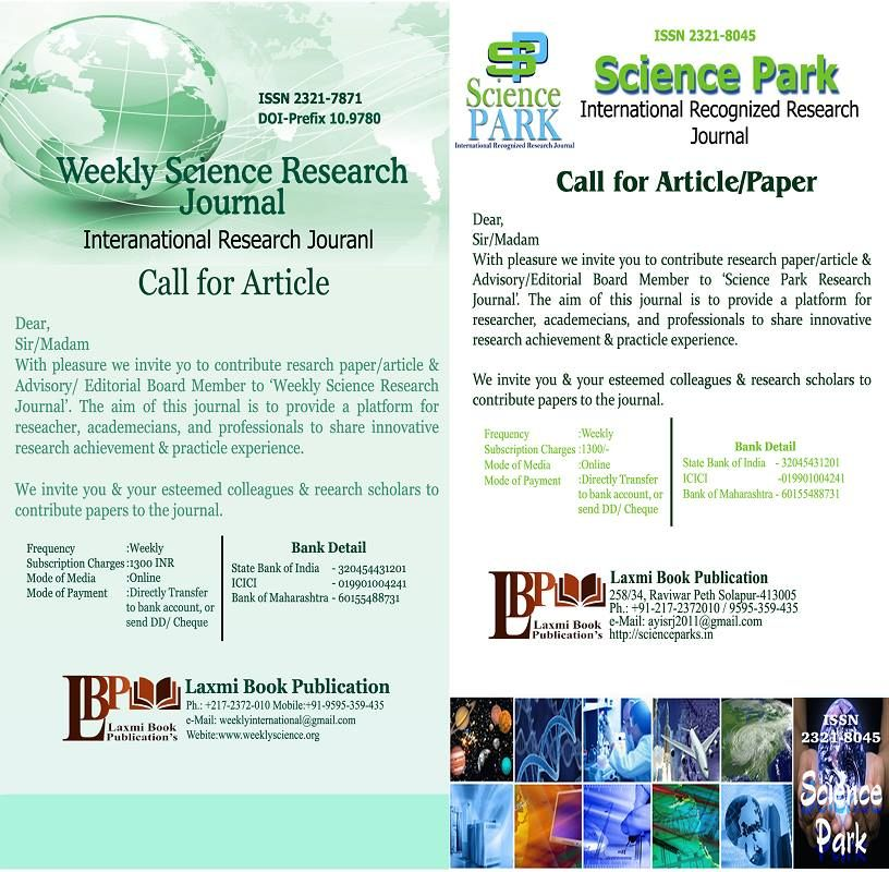 Weekly Science Is An International Online Research Journal Publishing The Double Blind Peer Reviewed Research Pape Research Paper Journal Paper Editorial Board