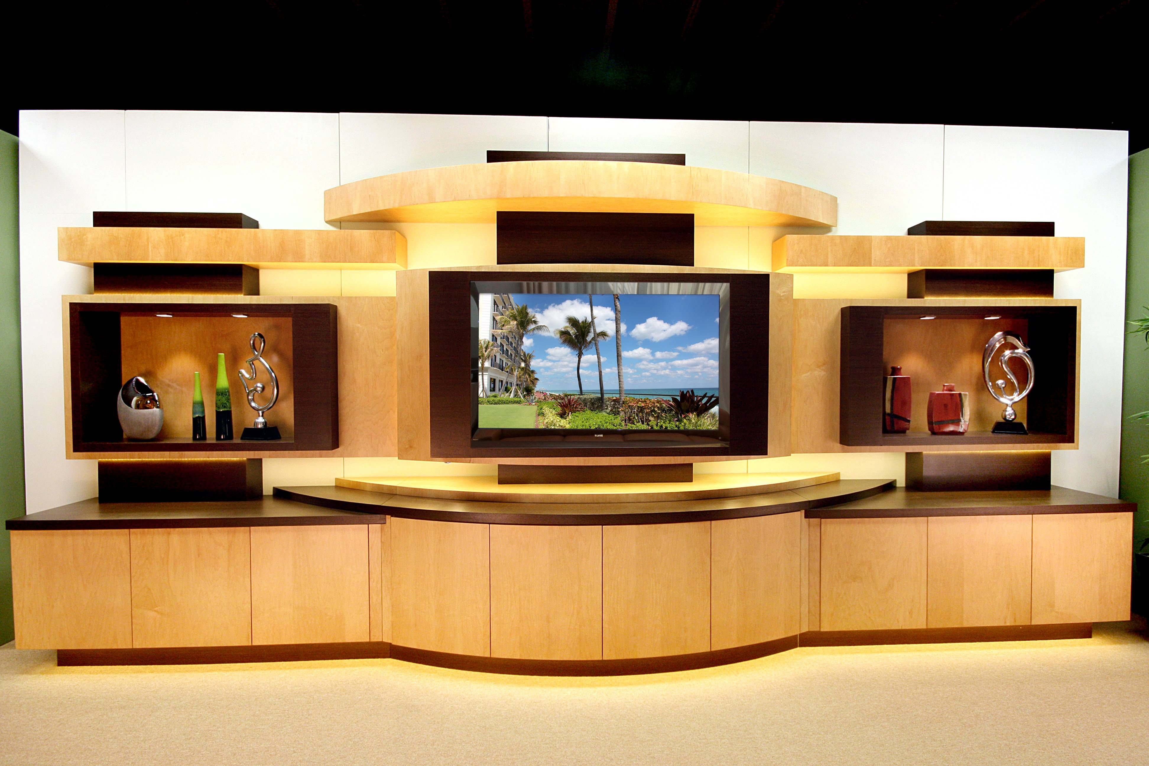 This custom wall unit was made of Natural Maple and Wenge. The ...