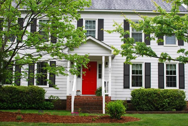 Just Enjoying Life Bunny Update And A Red Door Exterior Paint Colors For House House Paint Exterior Red Door