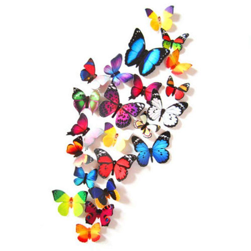 12//24PCS 3D Butterfly Sticker Art Design Decal Wall Stickers Home Decor Room NEW