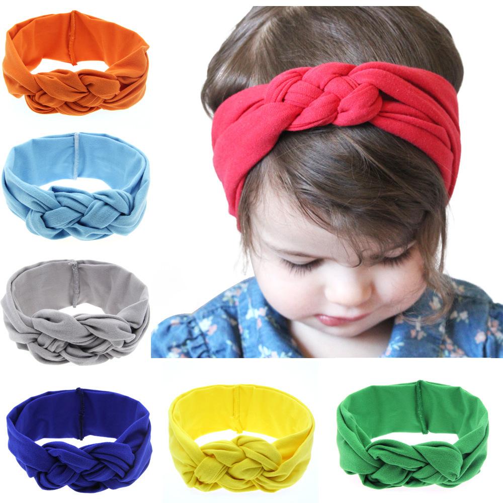 Kids Headwear Chicas Algodón Nudo Banda de pelo Toddler turbante Baby Headband