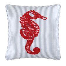 "Seahorse Chain Stitch Pillow 20"" x 20"""