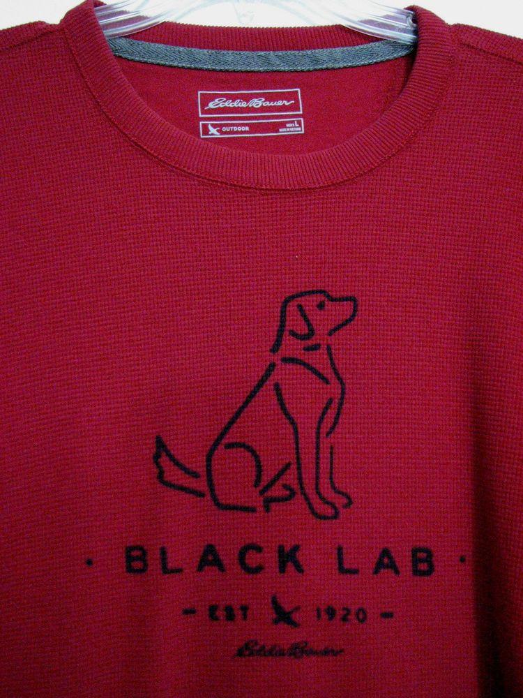 Eddie Bauer Large RED Thermal Black Lab 100% Cotton Long Sleeve Crew Neck  Shirt-Red- Black Design. Crew Neck Lightly worn 01e180123