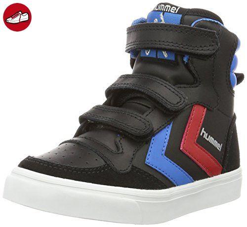 Hummel Unisex-Kinder Stadil JR Leather High Top, Schwarz (Black/Brilliant Blue), 36 EU