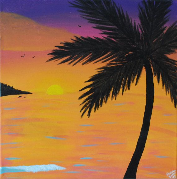 Beach Painting Palm Tree Orange Sunset Acrylic Canvas On