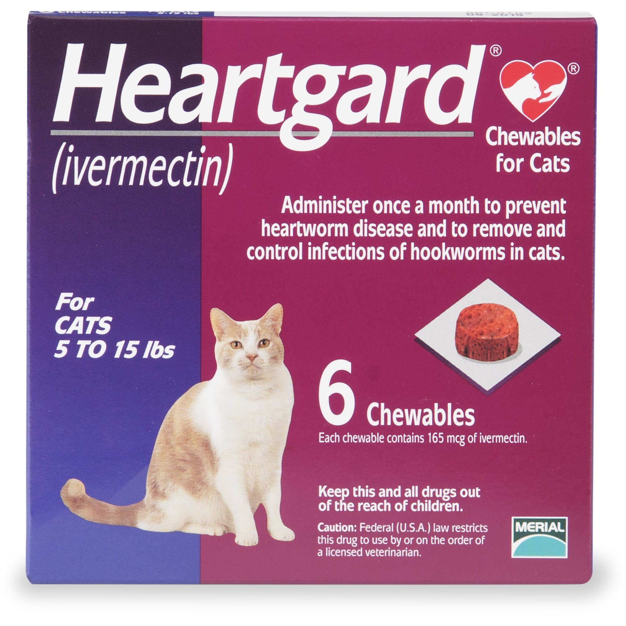 Heartgard Chewables for Cats 5 to 15 lbs., 6 Pack Pet
