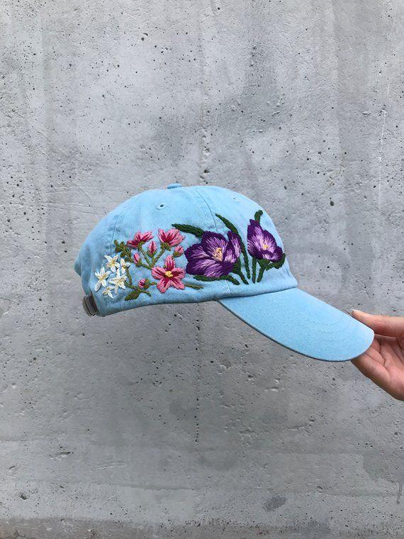 f87d679a1eb03d Custom Hand Stitched Hat / Hand Embroidered Hat / Flower Baseball Cap  Floral hat / Blue Cap / Botani