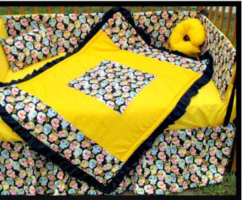 Colorful pink yellow and black candy color custom goth skull baby crib bedding set by Ebay seller alexiskleegrandma