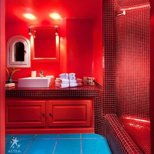 . Stunning Red Hotel Bathroom Mosaic Stucco Turqoise Tiles Santorini