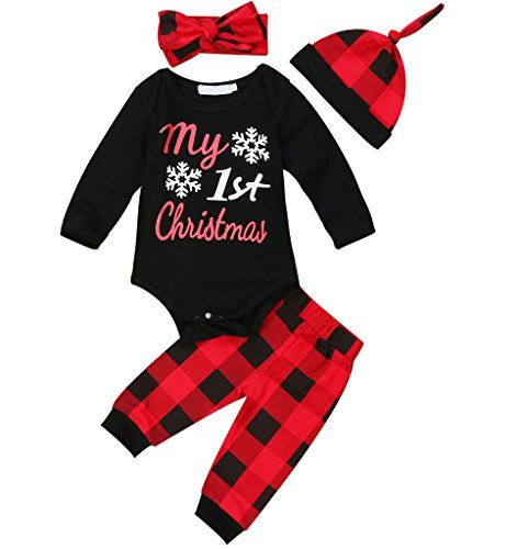f076ea35a Newborn Baby Boys Girls My First Christmas Bodysuit and Plaid Pants Leggings  Headband Hat 4pcs Christmas Outfits Set Black 1 90 912 Months ** Read more  at ...