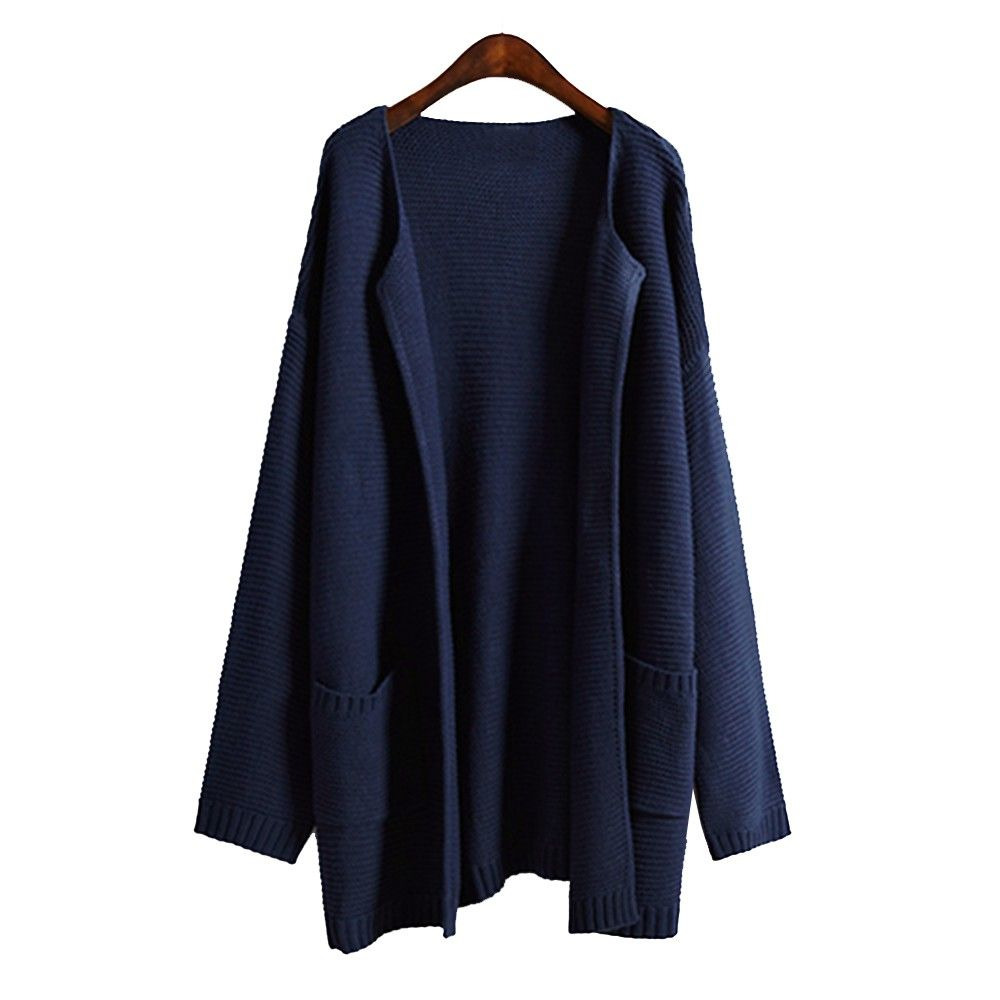 Women Long Sweaters Autumn And Winter Navy Blue Pink Knitted ...