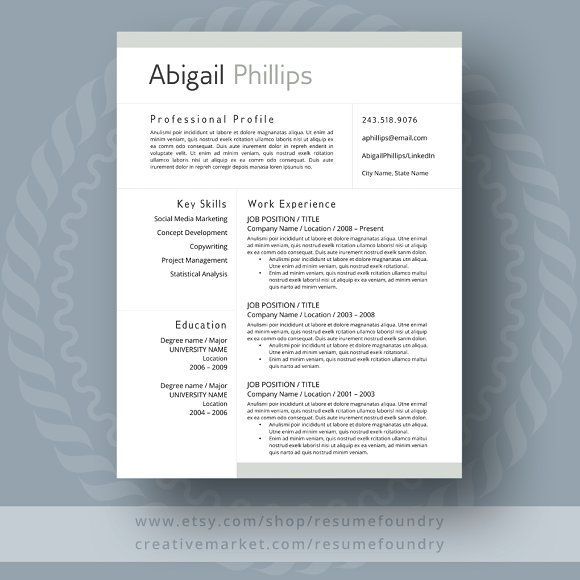 Modern Resume Template By Resumefoundry On Graphicsauthor