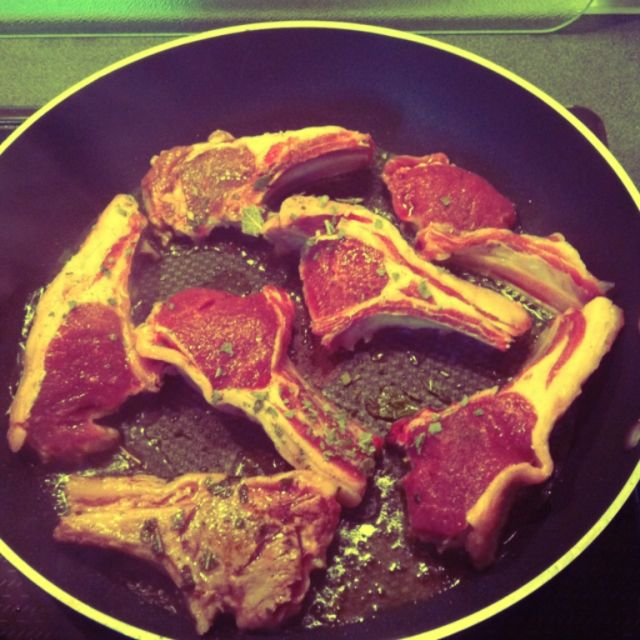 Some delicious lamb chops cooking up nicely.
