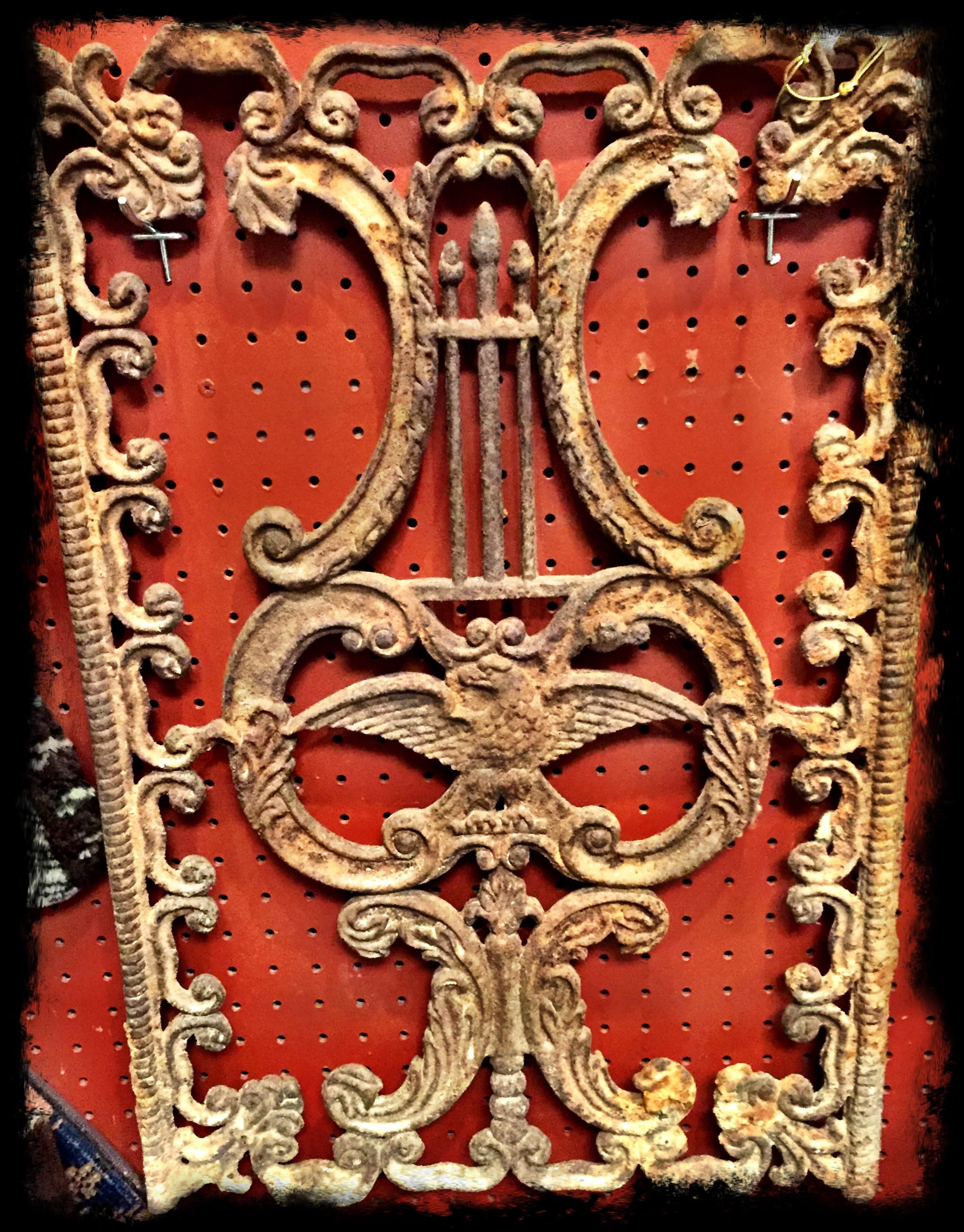 Great antique (19th century) wrought iron panel-ornate with eagle center.  $250.00.  Gaslamp Antiques, booth 230
