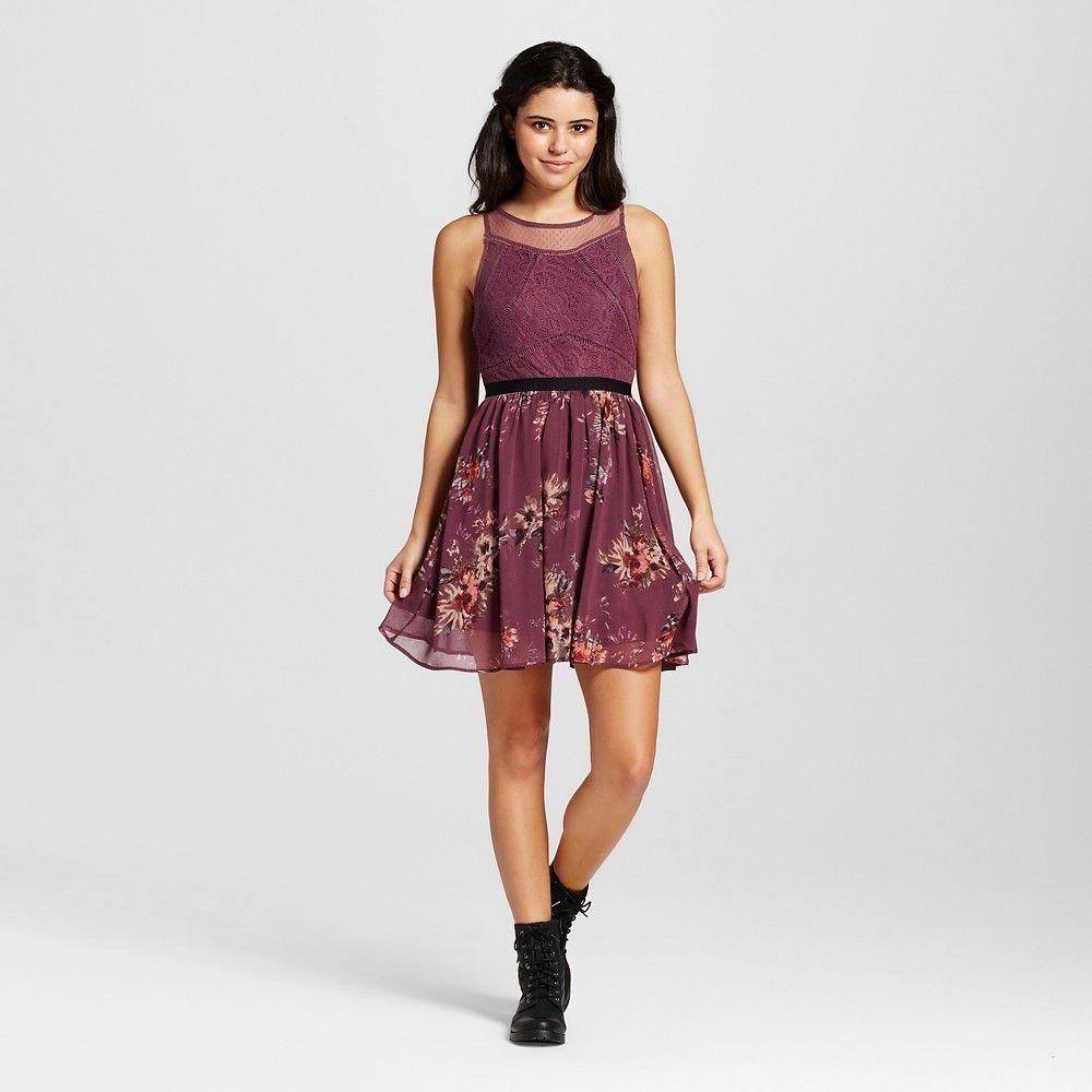 a7ddc08b05 Women s Floral Sleeveless Dress Purple XL - Xhilaration (Juniors ...