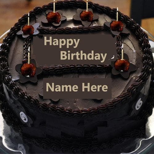 Write Name On Chocolate Happy Birthday Cake With Candle Vineela