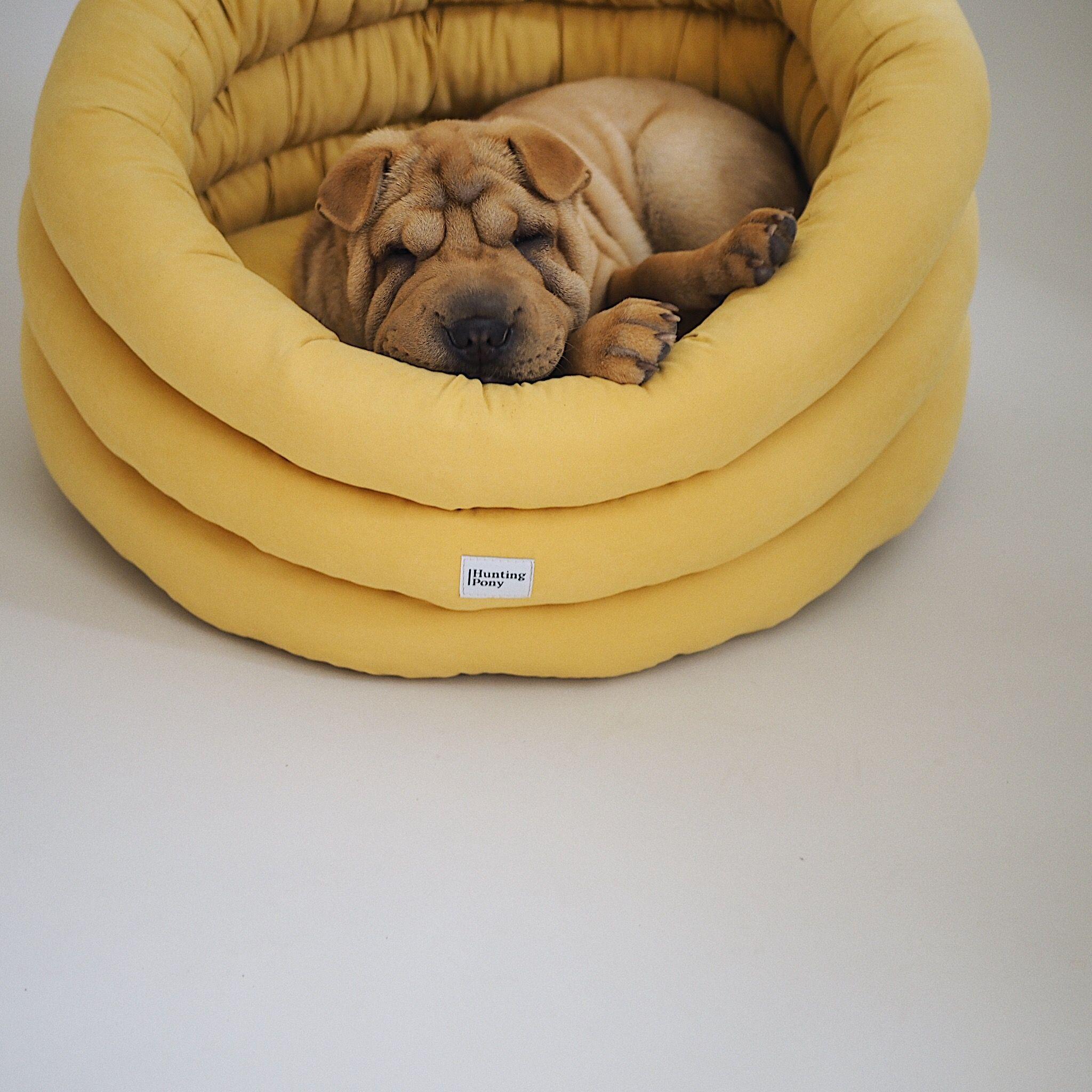 Round Dog Bed Yellow Washable Pet House Handmade Dog