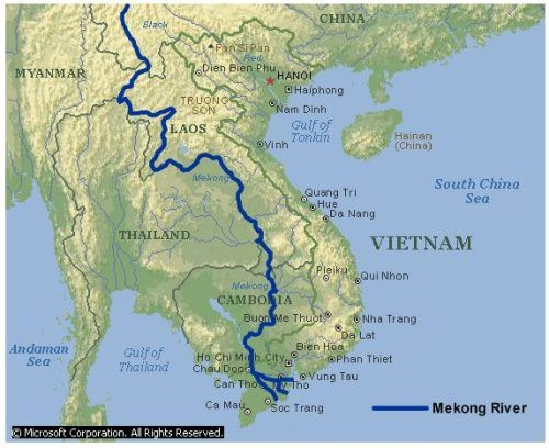 Mekong River Has Various Names Mae Nam Kong By The Thai And Lao - World river map with names
