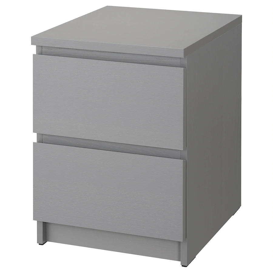MALM Chest of 2 drawers, grey stained