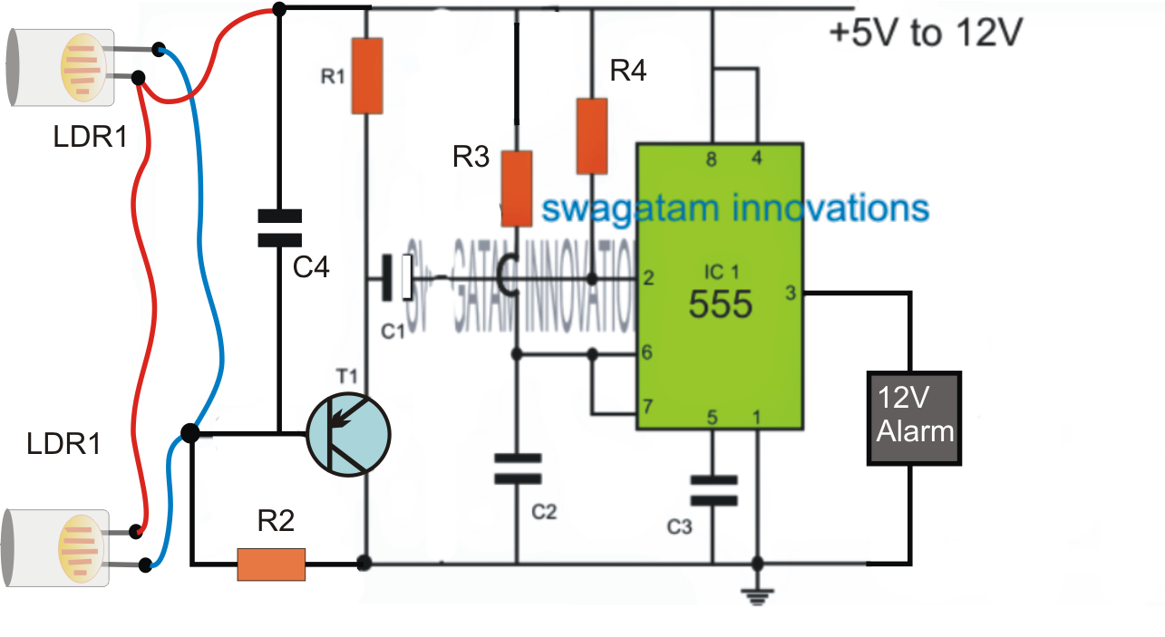 hight resolution of smart laser alarm protection circuit using ic 555