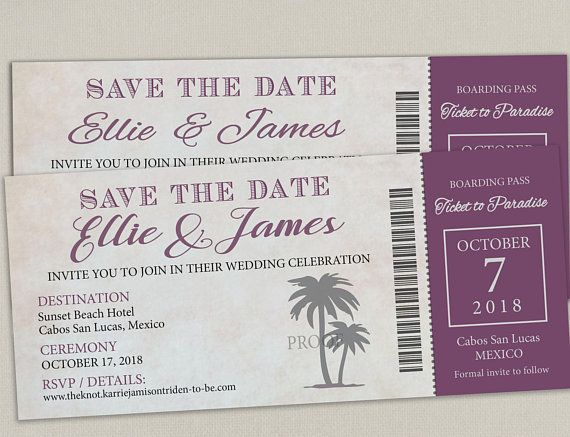 disney cruise boarding pass ticket wedding save the date wedding