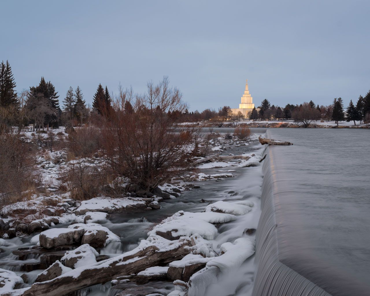 Idaho Falls Temple and the Snake River during winter time