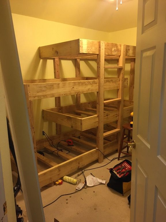 Made A Quadruple Bunk Bed Over Spring Break For Some Of My