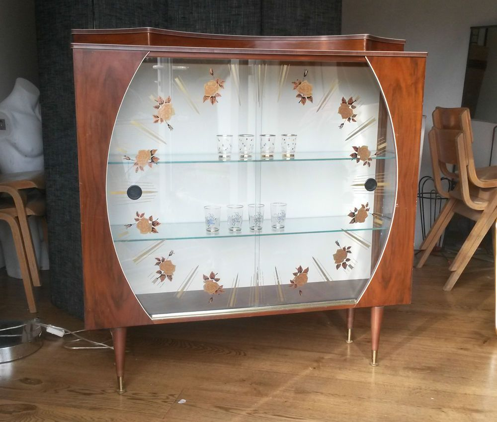 Vintage retro drinks cabinet - 1960s glass display cabinet ...