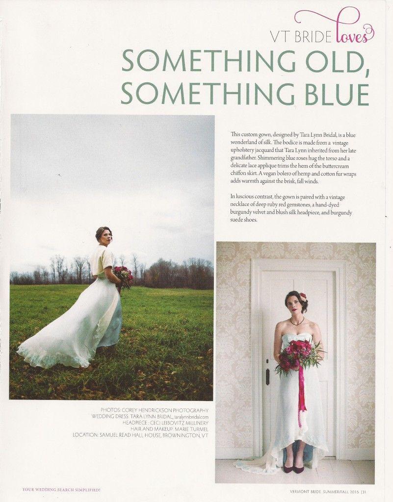 Vermont bride magazine tara lynn bridal blue wedding dress