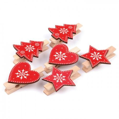 Wäscheklammern mit Herz, Stern, Baum, 6 Stück