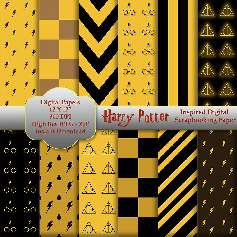 Scrapbook paper etsy - Harry Potter Inspired Digital Scrapbooking Paper Instant Download Hufflepuff