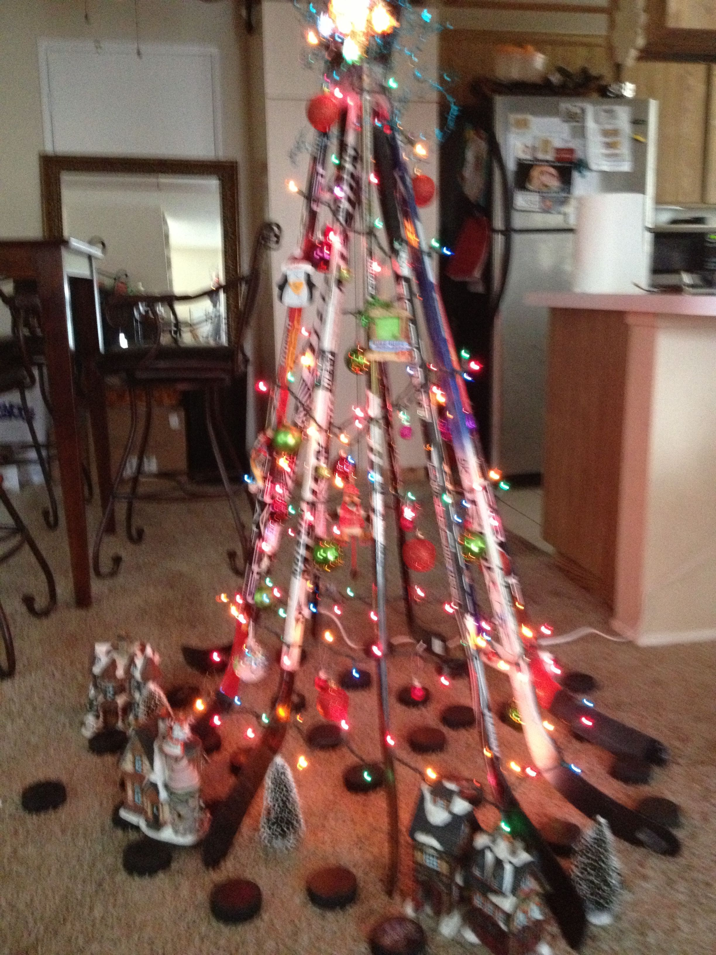Christmas Ornament Ice Hockey Stick Black Silver Glass Holiiday Decor