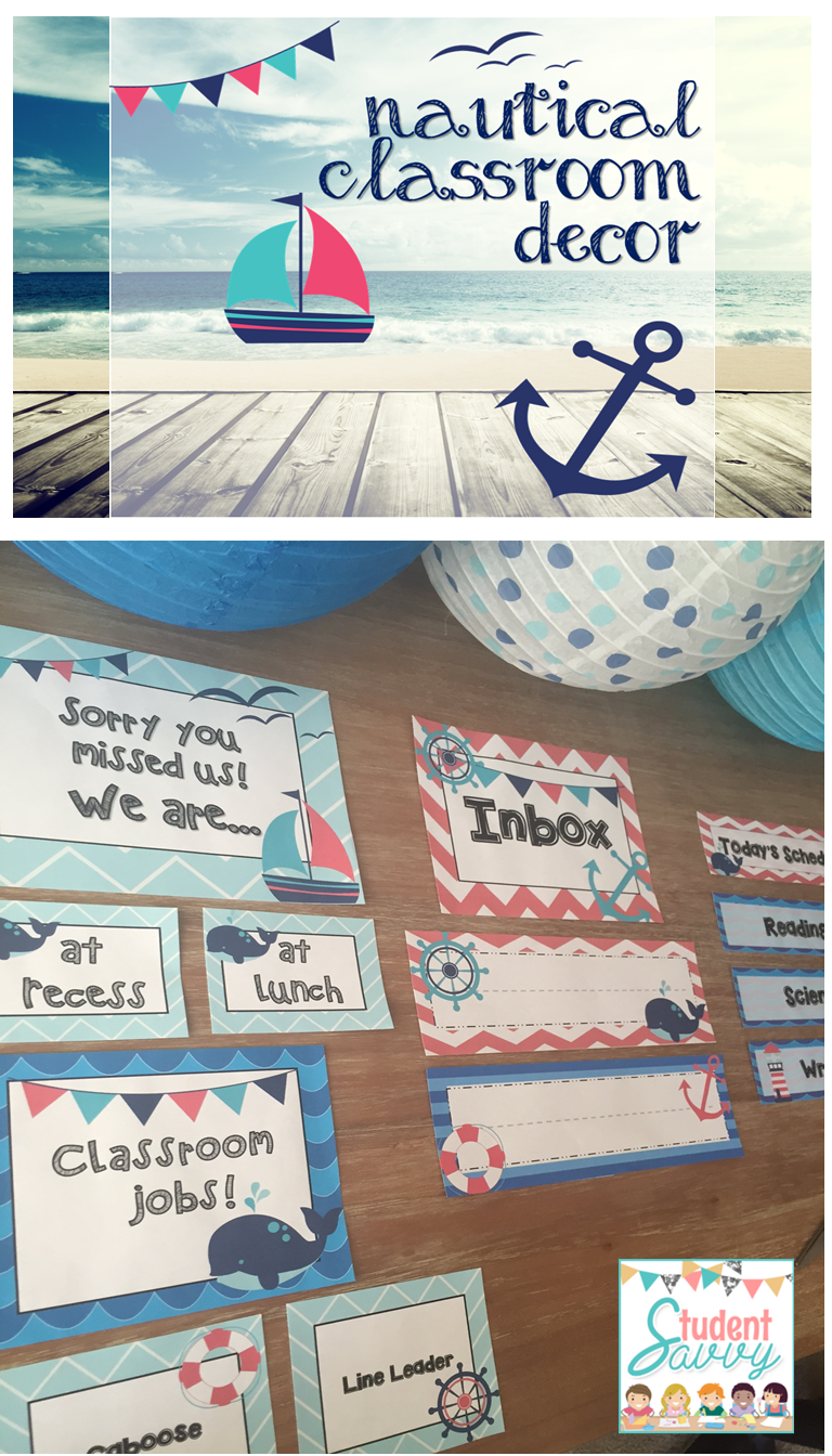 Editable Classroom Decor ~ Nautical classroom decor editable
