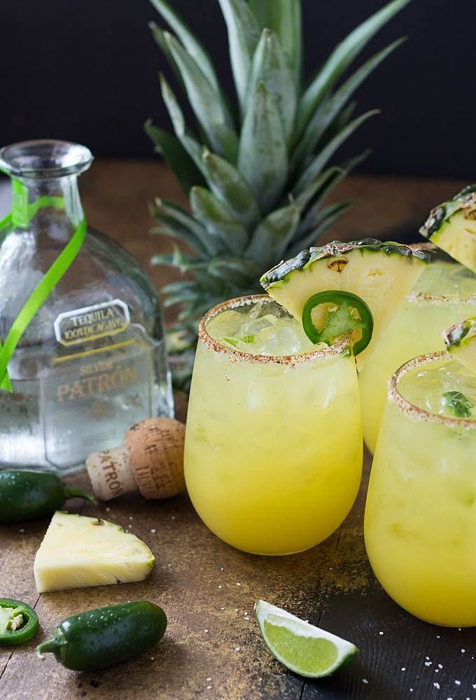 Pineapple Jalapeño Margarita is part of food-recipes - Easy and tasty  Hubby votes to cut back on chili powder on the rim but i love it!