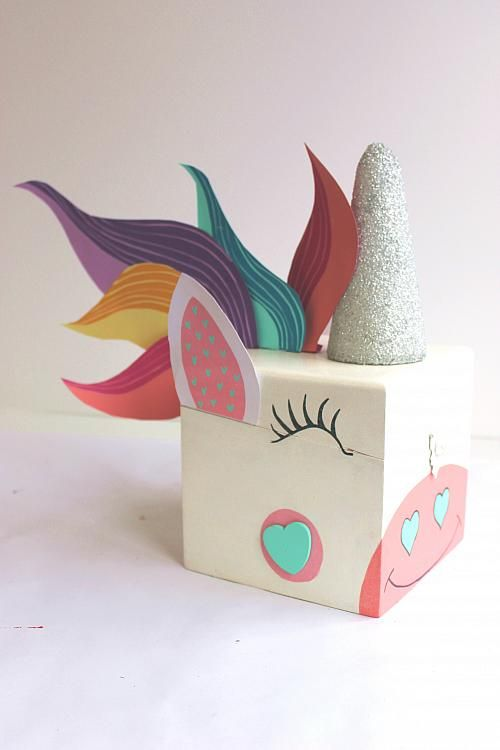 painted unicorn valentine card box project by decoart gift ideas