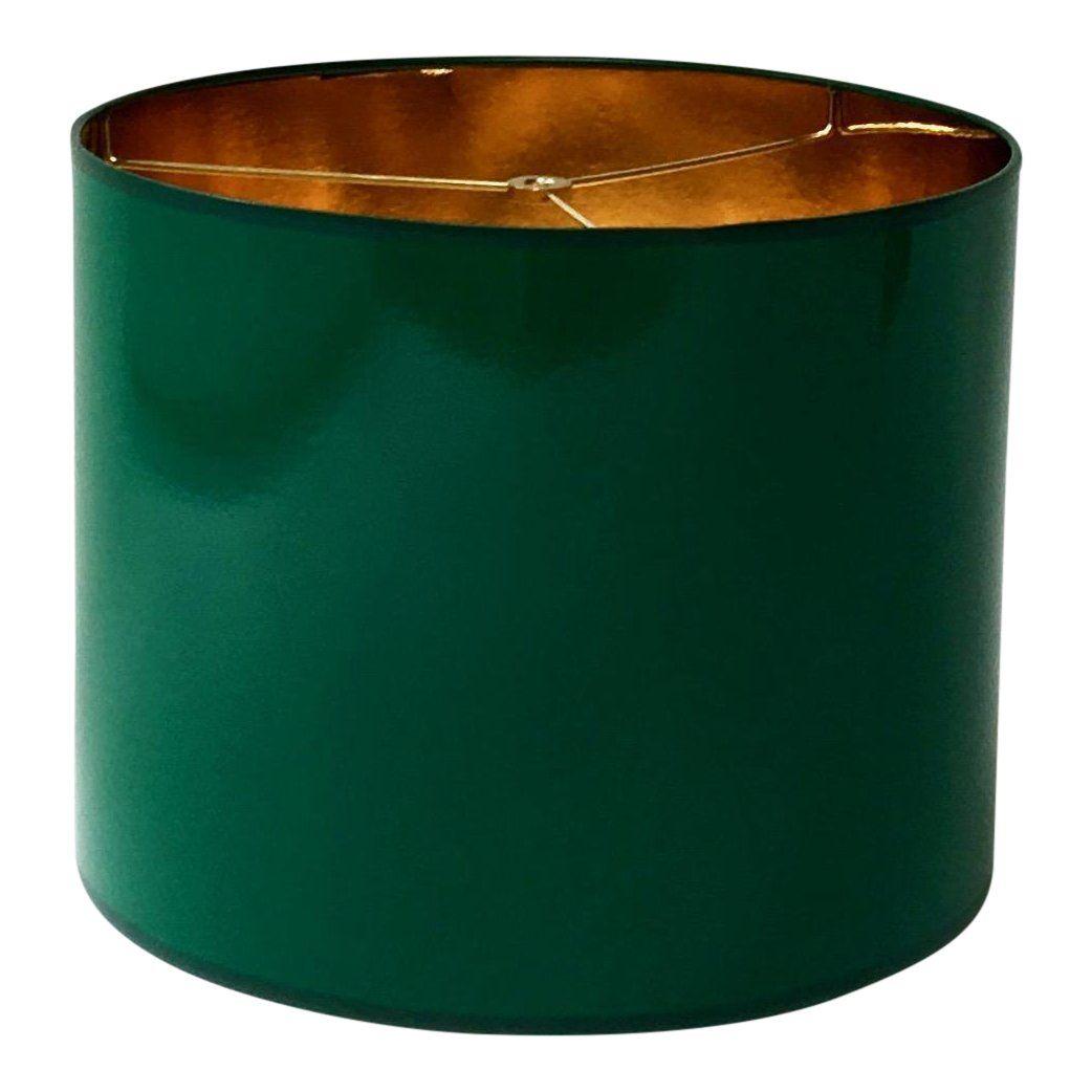 High Gloss Dark Green Drum Lamp Shade
