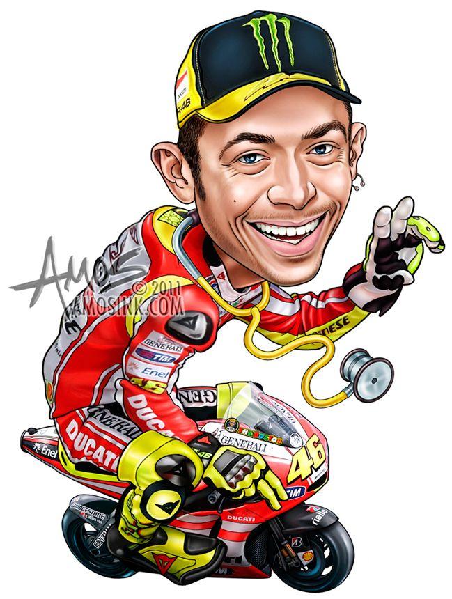 amosink.com - Valentino Rossi Caricature | Valentino rossi ...