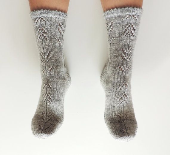 Highest quality hand knit geometric arrow pattern lace socks. Pastel grey or any other color you can choose from the list. Simple geometric yet cute